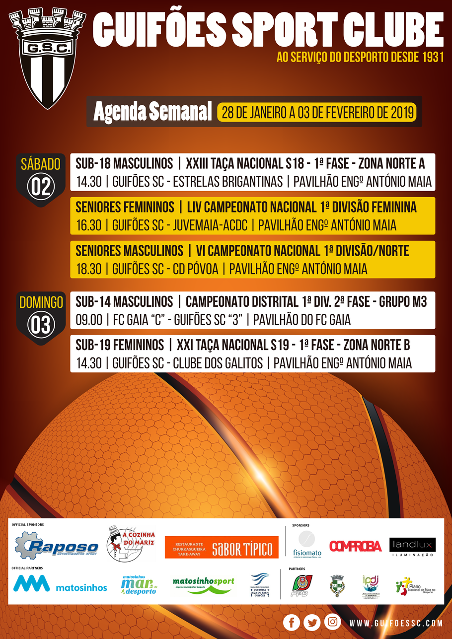 Agenda Semanal | 28 de Janeiro a 03 de Fevereiro 2019