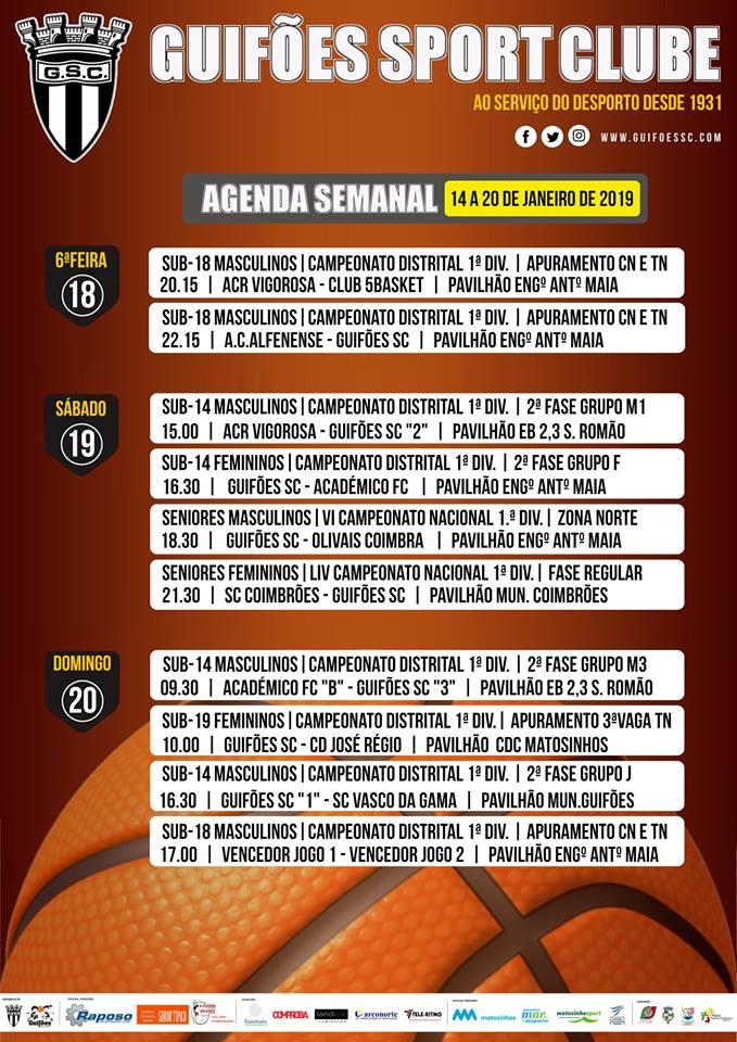 Agenda Semanal | 14 a 20 de Janeiro 2019