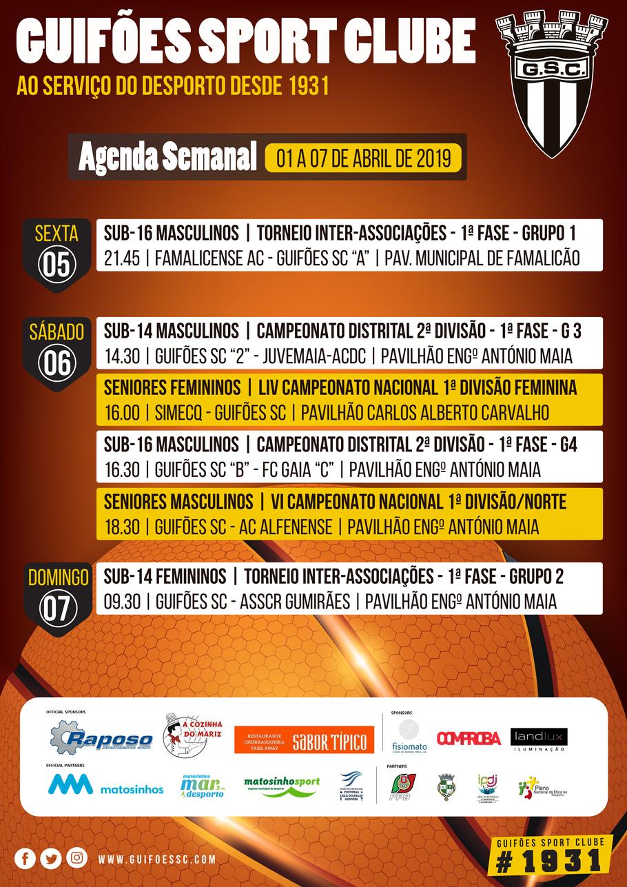 Agenda Semanal | 01 a 07 de Abril 2019