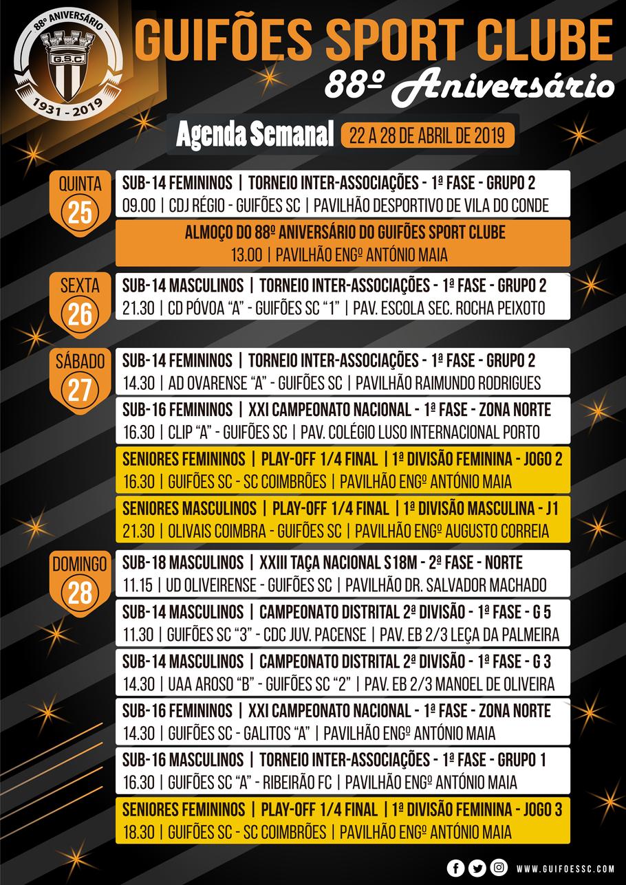 Agenda Semanal | 22 a 28 de Abril 2019
