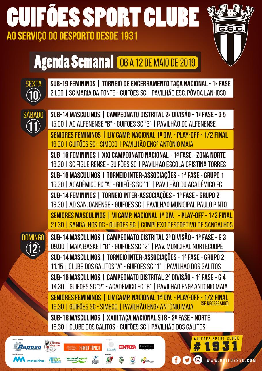 Agenda Semanal | 06 a 12 de Maio 2019