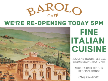 Barolo Cafe To Reopen For In-Room Dining Tuesday, May 26th At 5pm