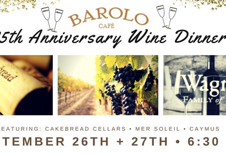 25th Anniversary Wine Dinner Menu Announced
