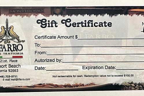 Il Farro $50 Gift Certificate