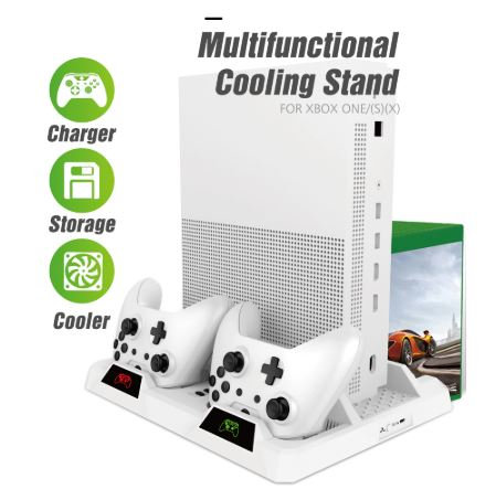 WHITE Dual Controller Charge and Console Station For Xbox ONE S/X