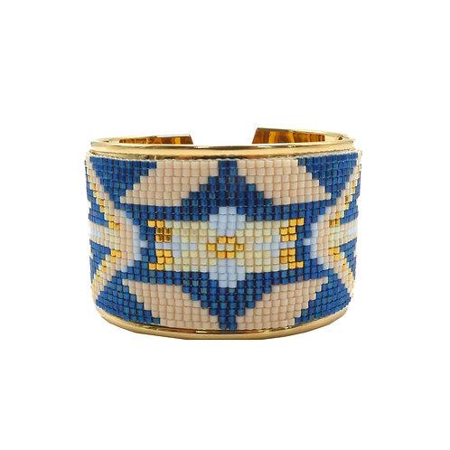 Bijou, Bracelet, Manchette doré or fin tissage perles, bleu, Le Droit à la Belle Vie, Boutique Les créateurs de saison, Paris
