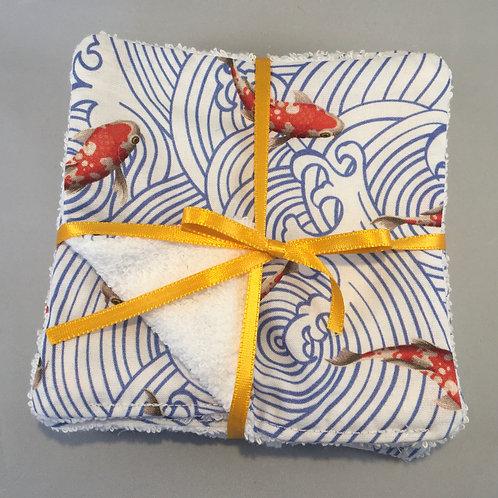 Lingette motif carpe Koï, coton bio, poisson, japon, rouge, Une touche de magie, Boutique Les créateurs de saison, Paris