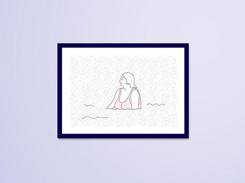 Dessin Naïade 5/8, Le Croisic, femme, mer, Manon Sénal, Boutique Les créateurs de saison, Paris