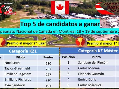 Top 5 de pilotos KZ a ganar premio rumbo a Canadá