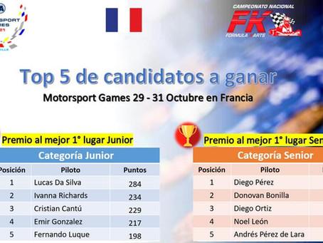 Top 5 de pilotos Junior y Senior a ganar premio rumbo a Francia