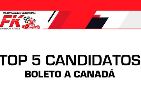 Top 5 de candidatos a ganar el boleto a Canadá