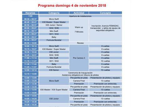 Programa oficial 5ta fecha Fórmula Karts 2018