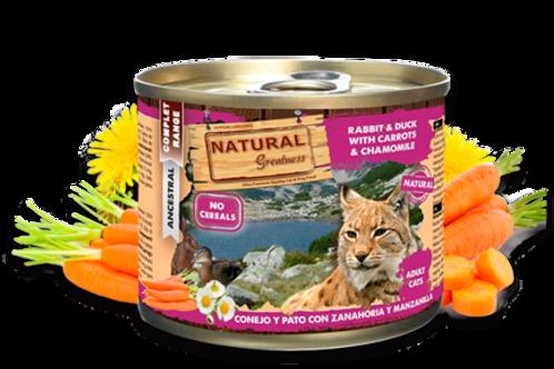 NATURAL GREATNESS CAT CONEJO Y PATO CON ZANAHORIA Y MANZANILLA 200GR