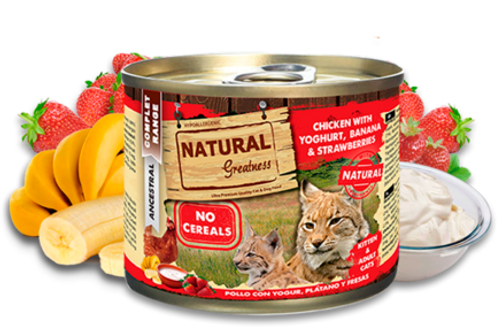 NATURAL GREATNESS CAT POLLO CON YOGUR, PLATANO Y FRESAS 200GR