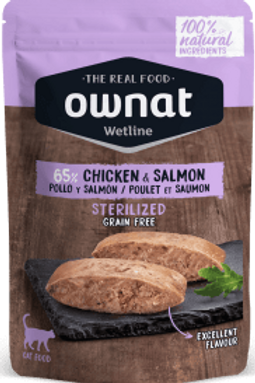 OWNAT WETLINE STERILIZED POLLO Y SALMON 85GR
