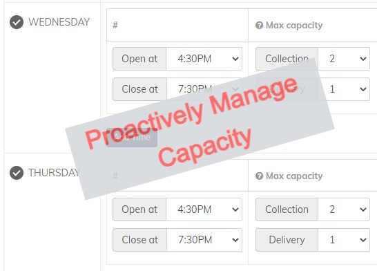 For the first time we can proactively set and manage the number of delivery and collection slots in every time period.