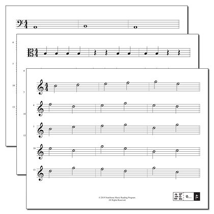 Additional Set of Music Reading Worksheets for Non-Strings