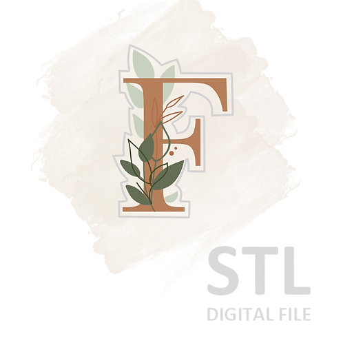 Floral F STL File Large - 3.25 in