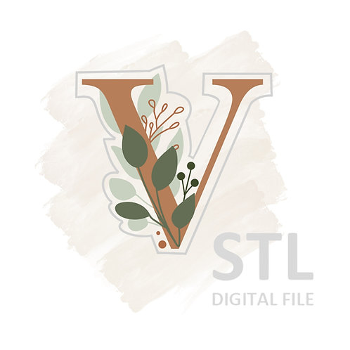 Floral V STL File Large - 3.25 in