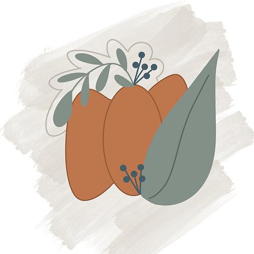 Wide Floral Pumpkin STL File Large - 4 in