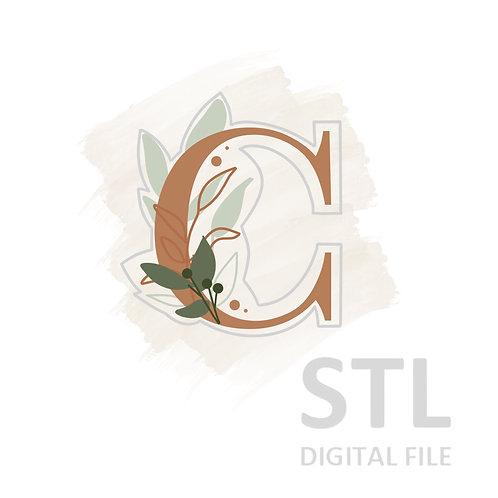 Floral C STL File Small - 2.5 in