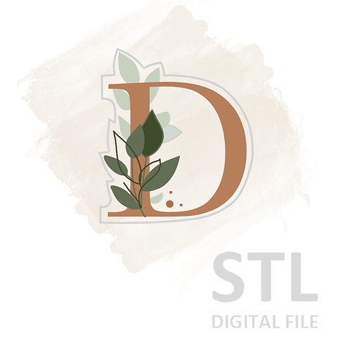 Floral D STL File Extra Large - 3.5 in