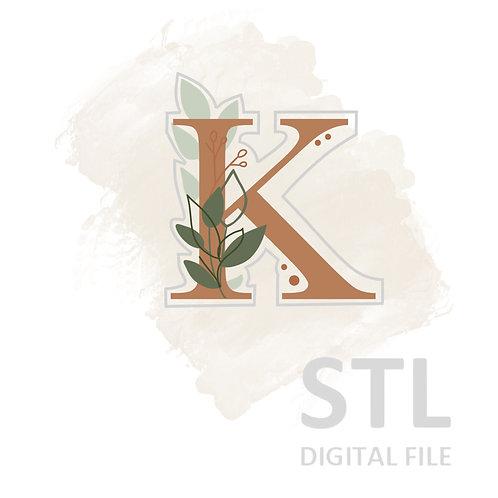 Floral K STL File Small - 2.5 in