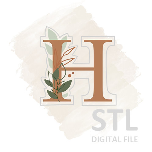 Floral H STL File Small- 2.5 in