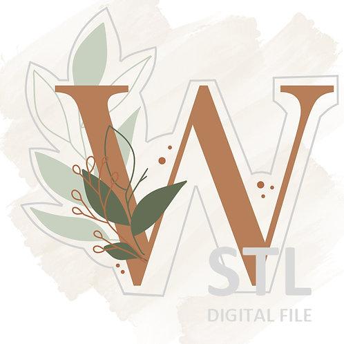 Floral W STL File Small - 2.5 in