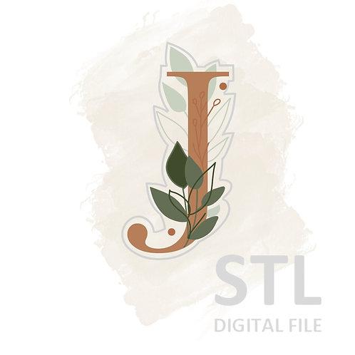 Floral J STL File Large - 3.25 in