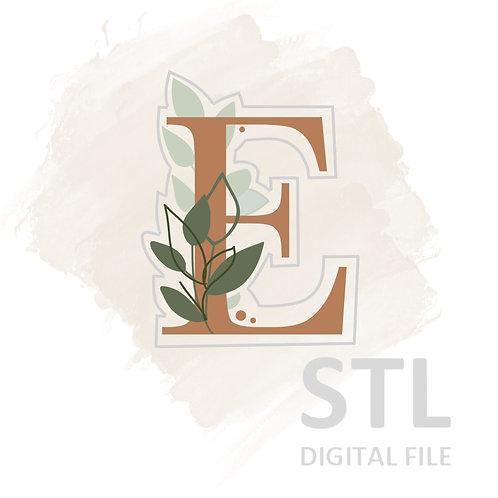 Floral E STL File Small - 2.5 in