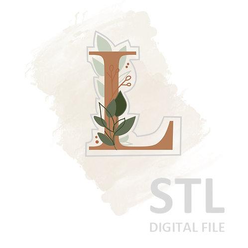 Floral L STL File Small - 2.5 in