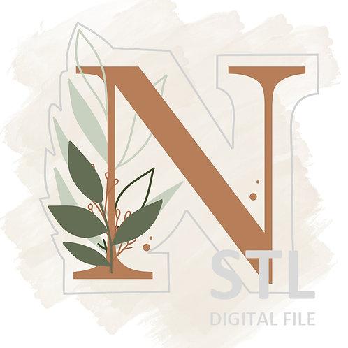 Floral N STL File Extra Large - 3.5 in