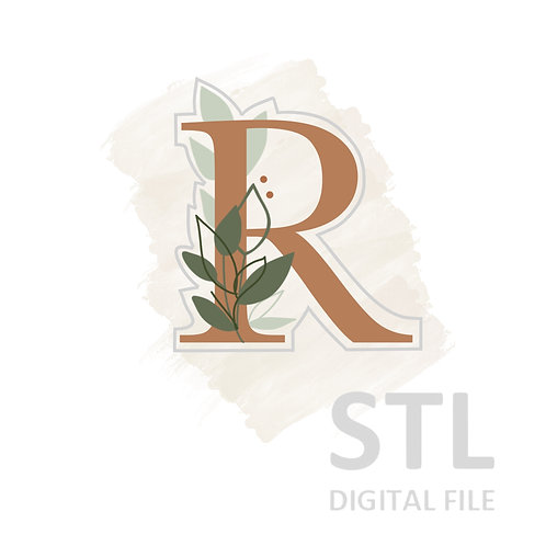 Floral R STL File Standard - 3 in