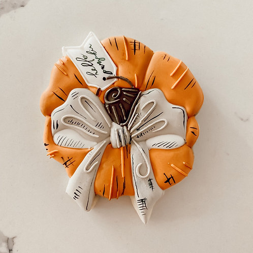 Pumpkin with Bow and Tag