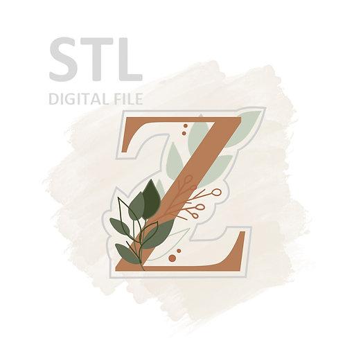 Floral Z STL File Large - 3.25 in