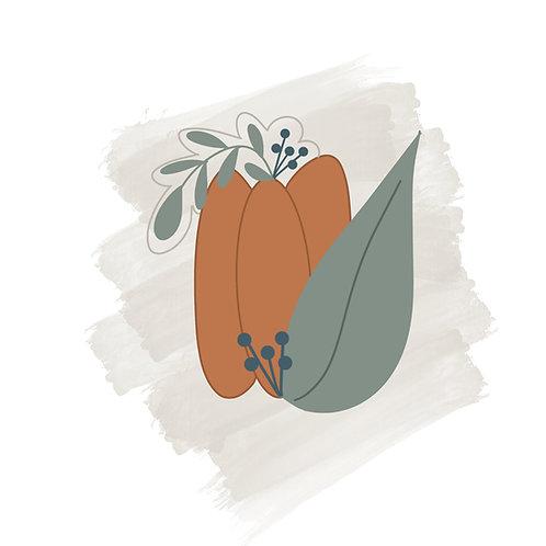 Skinny Floral Pumpkin STL File Medium - 4 in