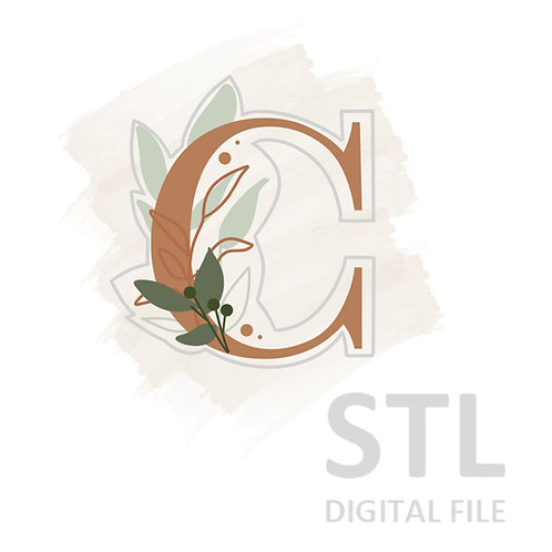 Floral C STL File Extra Large - 3.5 in