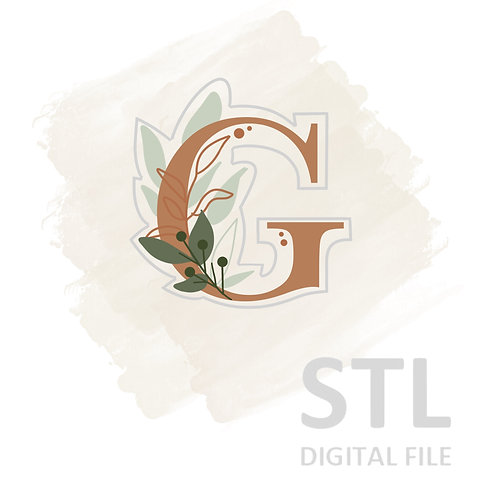 Floral G STL File Extra Large - 3.5 in