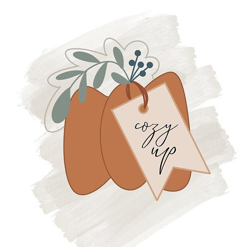 Floral Pumpkin with Tag STL File Medium - 3.5 in