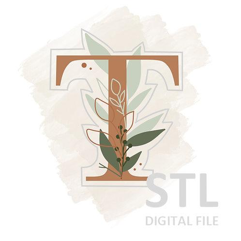 Floral T STL File Large - 3.25 in