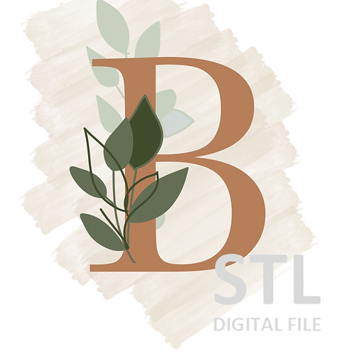 Floral B STL File Extra Large - 3.5 in