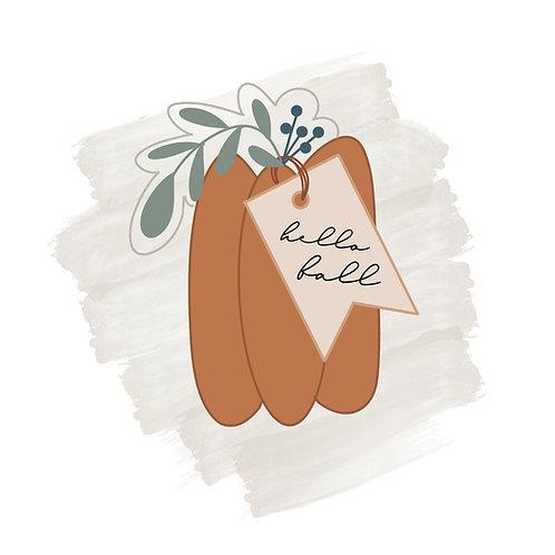 Skinny Floral Pumpkin with Tag STL File Standard - 3.5 in