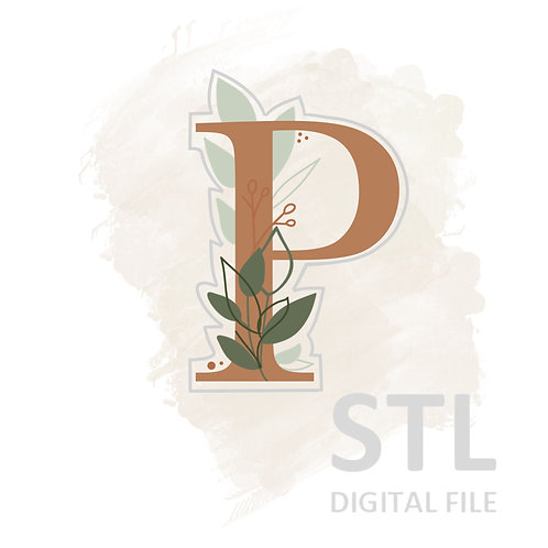 Floral P STL File Large - 3.25 in