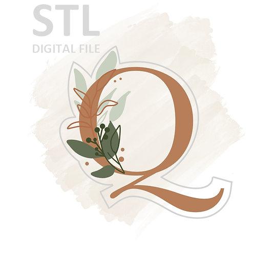 Floral Q STL File Large - 3.25 in