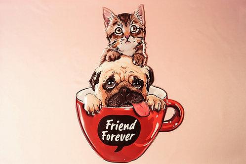 """Riesiges, geprägtes Metallschild """"Friends Forever"""" mit Katze & Hund"""