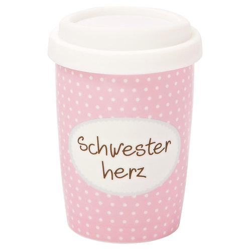 Coffee 2 Go aus Porzellan 250 ml – Schwesterherz
