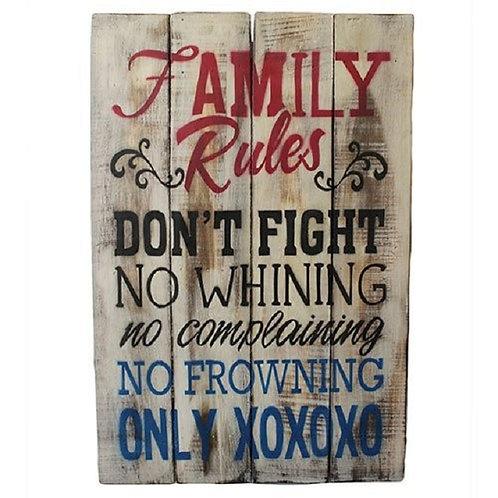 Holzschild Family Rules   HANDARBEIT! Holzschild im Vintagelook!