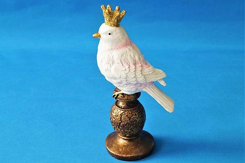 Reizendes Vogerl mit Krone aus Kunstharz – Höhe ca. 20 cm/ Vogel