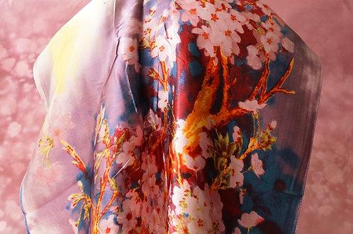 Eleganter Satinschal mit Kirschblüten - 160 x 50 cm